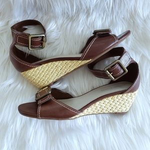 Etienne Aigner Brown Leather Woven Wedge Sandals 8